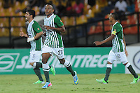 MEDELLÍN -COLOMBIA-13-05-2013.  John Fredy Pajoy del Nacional celebra el gol de la victoria en contra de Once Caldas durante partido de la fecha 15 Liga Postobón 2013-1 realizado en el estadio Atanasio Girardot de Medellín./ John Fredy Pajoy of Nacional celebrates the victory goal against Once Caldas during match of the 15th date of Postobon League 2013-1 at Atanasio Girardot stadium in Medellin. Photo: VizzorImage/Luis Ríos/STR