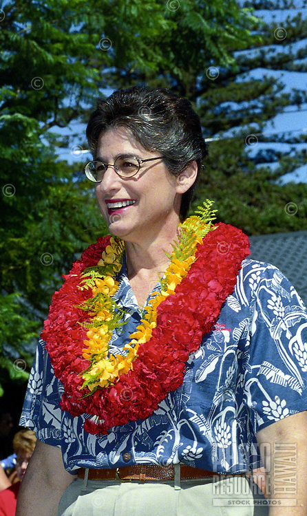 In 2010, (now former) Gov. Linda Crocket Lingle participated in the annual Makawao Fourth of July Parade in Makawao, Maui. Maui's cowboy or paniolo town got its start in the early 1800s as a support community for the upcountry cattle ranches.