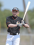 Ichiro Suzuki (Marlins),<br /> FEBRUARY 25, 2014 - MLB :<br /> Ichiro Suzuki of the Miami Marlins takes batting practice during the Miami Marlins spring training camp in Jupiter, Florida, United States. (Photo by AFLO)