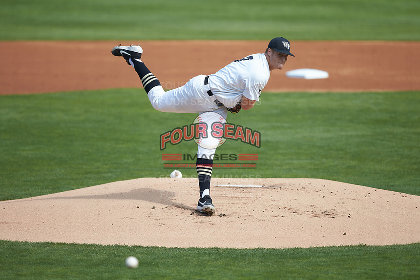 Wake Forest Demon Deacons starting pitcher Colin Peluse (8) delivers a pitch to the plate against the Furman Paladins at BB&T BallPark on March 2, 2019 in Charlotte, North Carolina. The Demon Deacons defeated the Paladins 13-7. (Brian Westerholt/Four Seam Images)
