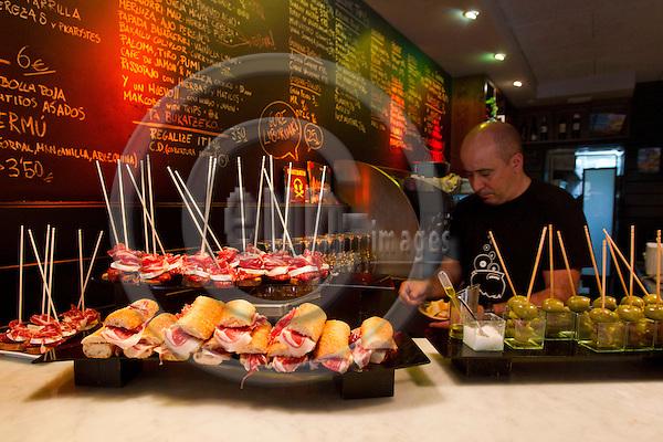 SAN SEBASTIAN - SPAIN - 23 JULY 2010 -- Tapas, or in Basques called pintxos, ready for lunch time at the A Fuego Negro - hippest Pintxos restaurant in San Sebastian. PHOTO: ERIK LUNTANG / EUP-Images.