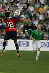 Dublin Ireland. Chile No 18 Gonzalo Jara Reyes intercepts the ball in fron tof Ireland no 11 Damien Duff during the friendly soccer international at Lansdowne road Dublin Ireland 24/5/06.Photo AFP/NEWSFILE/FRAN CAFFREY..(Photo credit should read AFP PHOTO/FRAN CAFFREY/NEWSFILE)...This Picture has been sent you under the condtions enclosed by:.Newsfile Ltd..the Studio,.Millmount Abbey,.Drogheda,.Co Meath..Ireland..Tel: +353(0)41-9871240.Fax: +353(0)41-9871260.GSM: +353(0)86-2500958.email: pictures@newsfile.ie.www.newsfile.ie.FTP: 193.120.102.198..This picture is from Fran Caffrey@newsfile.ie