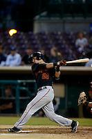 Jeff Arnold #21 of the San Jose Giants bats against the Inland Empire 66'ers on April 18, 2013 at San Manuel Stadium in San Bernardino, California. (Larry Goren/Four Seam Images)