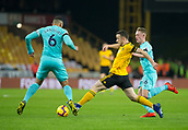 11th February 2019, Molineux, Wolverhampton, England; EPL Premier League football, Wolverhampton Wanderers versus Newcastle United; Diogo Jota of Wolverhampton Wanderers stretches for the ball in front of Jamaal Lascelles of Newcastle United
