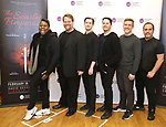 """Alex Newell, John Treacy Egan, Chris Dwan, Kevin Duda, Kevin Kern and Eliseo Roman attend the Meet the Cast of The MCP Production of """"The Scarlet Pimpernel"""" at Pearl Rehearsal studio Theatre on February 14, 2019 in New York City."""