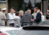 (Oslo July 23, 2011) Crown Prince Haakon meets relatives and survivors, near Ut&oslash;ya.<br /> <br /> <br /> A large vehicle bomb was detonated near the offices of Norwegian Prime Minister Jens Stoltenberg on 22 July 2011. Although Stoltenberg was reportedly unharmed the blast resulted in several injuries and deaths. <br /> Another terrorist attack took place shortly afterwards, where a man killed over 80 children and youths attending a political camp at Ut&oslash;ya island. <br /> <br /> Anders Behring Breivik was arrested on the island and has admitted to carrying out both attacks.<br /> <br /> (photo:Fredrik Naumann/Felix Features)