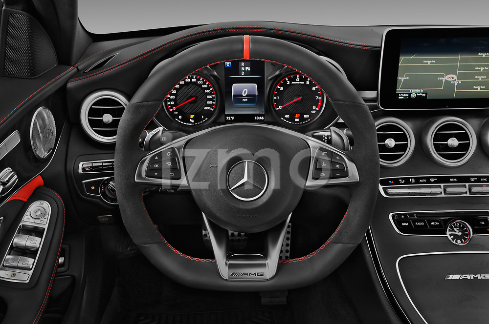 Car pictures of steering wheel view of a 2018 Mercedes Benz C-Class AMG-C63-S 4 Door Sedan Steering Wheel