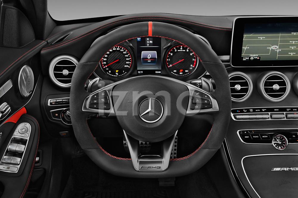 Car pictures of steering wheel view of a 2018 Mercedes Benz C-Class AMG-C63-S 4 Door Sedan Steering Wheel