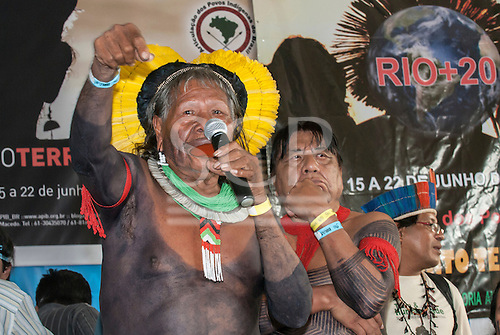 The People's Summit, UN Conference on Sustainable Development (Rio+20), Rio de Janeiro, Brazil, 16th June 2012. Kayapo Chiefs Raoni Metuktire and Megaron Txucarramae.