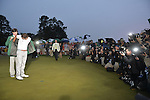 AUGUSTA, GA - APRIL 14: Adam Scott of Australia accepts his green jacket after winning the 2013 Masters Golf Tournament at Augusta National Golf Club on April 14, 2013 in Augusta, Georgia. (Photo by Donald Miralle) *** Local Caption ***