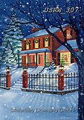 Randy, CHRISTMAS LANDSCAPES, WEIHNACHTEN WINTERLANDSCHAFTEN, NAVIDAD PAISAJES DE INVIERNO, paintings+++++CC-Red-House-In-Snow-Randy-sm,USRW307,#xl#