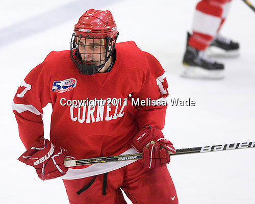 Jordan Kary (Cornell - 17) - The visiting Cornell University Big Red defeated the Harvard University Crimson 2-1 on Saturday, January 29, 2011, at Bright Hockey Center in Cambridge, Massachusetts.