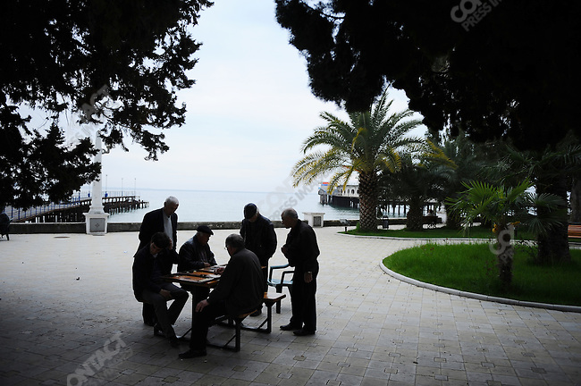 Men played chess, dominos and backgammon on the promenade along the seafront  in Sukhumi, the capitol of Abkhazia, April 28, 2009