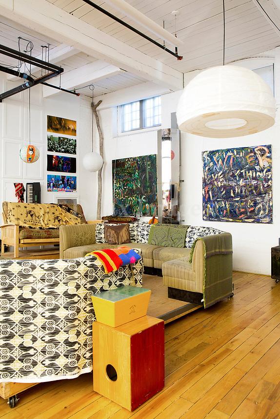 Modern paintings in the living room