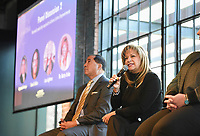 """NWA Democrat-Gazette/CHARLIE KAIJO Dr. Betty Uribe (second from left) speaks, Thursday, October 31, 2019 during the LatinXNA empowerment forum at The Record in Bentonville. She is shown with fellow speaker Raymond Arroyo, managing partner of Chapman Farrell Group (left).<br /> <br /> The Latino Business Speakers Bureau partnered with Grand Slam Performance associates to bring nationally recognized speakers to Northwest Arkansas to share their best practices and insights to empower Latinos in business.<br /> <br /> Their goal is to create a movement within the local business community to commit to improve diversity numbers in businesses in the Northwest Arkansas region. This is the first year of the forum and was open to the public. <br /> <br /> """"Northwest Arkansas is a booming economy and is very attractive to Latino talent. There is a huge population gap for Latinos, 18 percent and representation at the C suite level is only 2 percent"""" said Carol Moralez, managing director of PerformanceGPA. """"We just want to see it move up at this stage. We want to drive movement in board development, Latino speaker engagements, c-suites, promotions and employee resource group impact (growing the Latino talent pipeline)."""""""