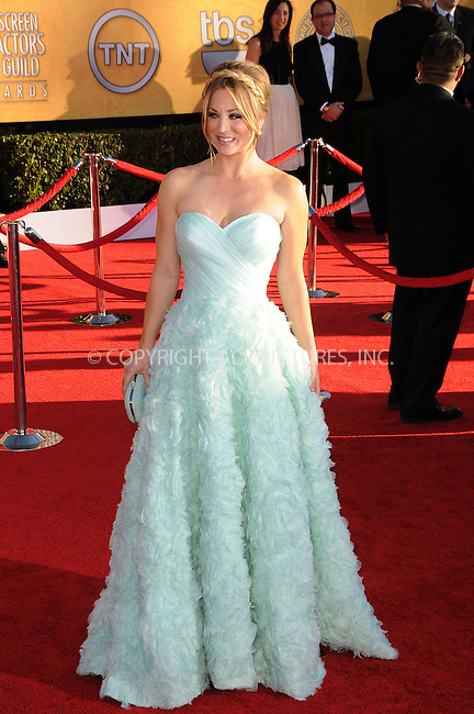 WWW.ACEPIXS.COM . . . . .  ....January 29 2012, LA....Kaley Cuoco arriving at the 18th Annual Screen Actors Guild Awards at The Shrine Auditorium on January 29, 2012 in Los Angeles, California.....Please byline: PETER WEST - ACE PICTURES.... *** ***..Ace Pictures, Inc:  ..Philip Vaughan (212) 243-8787 or (646) 769 0430..e-mail: info@acepixs.com..web: http://www.acepixs.com