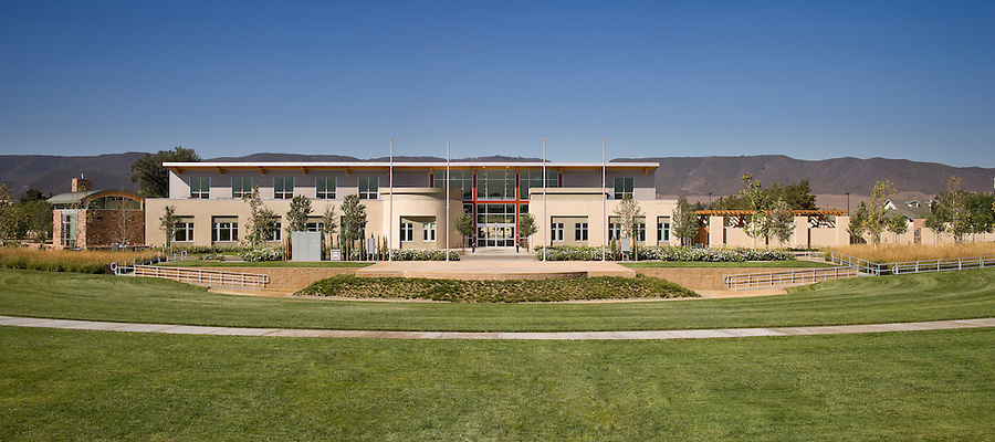 Carrier Johnson - Murrieta Public Library<br /> The Murrieta Library was designed by Carrier Johnson's San Diego office. We shot this project on two intensely hot August days. Some of the exteriors are panoramas created from multiple frames - a technique suited to long, sprawling designs like this. The Murrieta Library was designed by Carrier Johnson's San Diego office. We shot this project on two intensely hot August days in 2007. Some of the exteriors are panoramas created with a custom-made wide angle digital camera - equipment suited to long, sprawling designs like this.