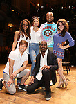 "Sasha Hollinger, Thayne Jasperson, Lauren Boyd, Justin Dine Bryant, Sean Green Jr. and Lexi Garcia during a Q & A before The Rockefeller Foundation and The Gilder Lehrman Institute of American History sponsored High School student #eduHam matinee performance of ""Hamilton"" at the Richard Rodgers Theatre on May 9, 2018 in New York City."