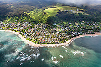 An aerial view of Sunset Beach, North Shore, O'ahu.