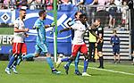 01.09.2019,  GER; 2. FBL, Hamburger SV vs Hannover 96 ,DFL REGULATIONS PROHIBIT ANY USE OF PHOTOGRAPHS AS IMAGE SEQUENCES AND/OR QUASI-VIDEO, im Bild Bakery Jatta (Hamburg #18) schiesst das 3-0 fuer Hamburg und laeuft jubelnd zur Mannschaft an der Seitenlinie Foto © nordphoto / Witke *** Local Caption ***