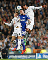 Real Madrid´s Kroos and Varane and Schalke´s German midfielder Marco Höger