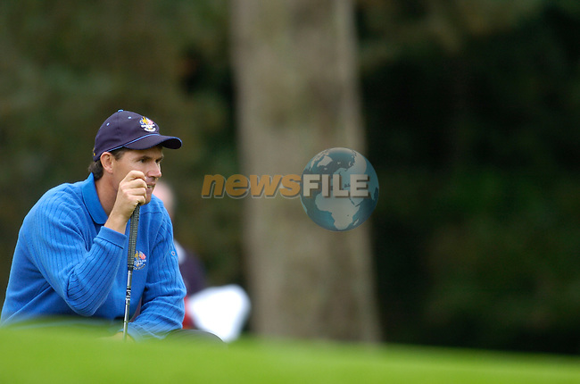 Ryder Cup K Club Straffin Co Kildare..European Ryder Cup player Padraig Harrington on the edge of the 16th green during the morning fourball session of the second day of the 2006 Ryder Cup at the K Club in Straffan, County Kildare, in the Republic of Ireland, 23 September, 2006..Photo: Barry Cronin/ Newsfile.<br />