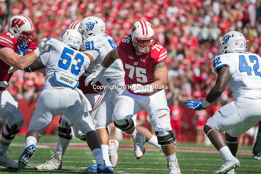 Wisconsin Badgers offensive lineman Micah Kapoi (75) during an NCAA college football game against the Georgia State Panthers Saturday, September 17, 2016, in Madison, Wis. The Badgers won 23-17. (Photo by David Stluka)