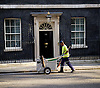 A cleaner walks along Downing Street looking for any rubbish to clean up!<br />  London, Great Britain <br /> 8th September 2016 <br /> <br /> <br /> <br /> <br /> Photograph by Elliott Franks <br /> Image licensed to Elliott Franks Photography Services