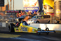 Feb. 17 2012; Chandler, AZ, USA; NHRA top fuel dragster driver Spencer Massey during qualifying for the Arizona Nationals at Firebird International Raceway. Mandatory Credit: Mark J. Rebilas-