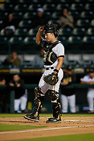 Bradenton Marauders catcher John Bormann (15) during a Florida State League game against the Jupiter Hammerheads on April 19, 2019 at LECOM Park in Bradenton, Florida.  Bradenton defeated Jupiter 7-1.  (Mike Janes/Four Seam Images)