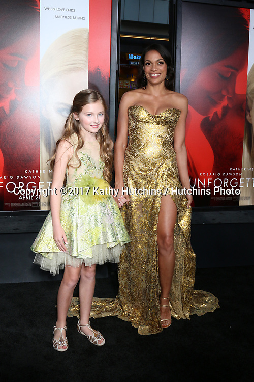 "LOS ANGELES - APR 18:  Isabella Kai Rice, Rosario Dawson at the ""Unforgettable"" Premiere at TCL Chinese Theater IMAX on April 18, 2017 in Los Angeles, CA"