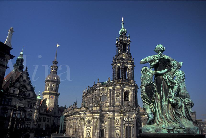 church, Dresden, Germany, Sachen, Saxony, Europe, Hofkirche a Catholic Church built in 1755 in downtown Dresden