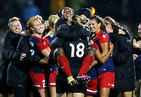 Boyds, MD - Friday Sept. 30, 2016: Francisca Ordega celebrates after a National Women's Soccer League (NWSL) semi-finals match between the Washington Spirit and the Chicago Red Stars at Maureen Hendricks Field, Maryland SoccerPlex. The Washington Spirit won 2-1 in overtime.