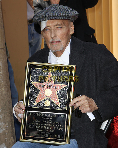 DENNIS HOPPER .Dennis Hopper is honored with the 2,403rd Star on the Hollywood Walk of Fame held On Hollywood Blvd., Hollywood, California , USA, .26th March 2010..half length holding frame sitting coat plaster injury injured on head forehead bandage  cap hat tweed grey gray white shirt beard facial hair goatee .CAP/ADM/KB.©Kevan Brooks/AdMedia/Capital Pictures.