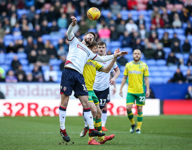 Bolton Wanderers' Luke Murphy competing with Norwich City's Marco Stiepermann  <br /> <br /> Photographer Andrew Kearns/CameraSport<br /> <br /> The EFL Sky Bet Championship - Bolton Wanderers v Norwich City - Saturday 16th February 2019 - University of Bolton Stadium - Bolton<br /> <br /> World Copyright © 2019 CameraSport. All rights reserved. 43 Linden Ave. Countesthorpe. Leicester. England. LE8 5PG - Tel: +44 (0) 116 277 4147 - admin@camerasport.com - www.camerasport.com