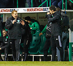 9.3.2018: Hibs v Hearts:<br /> Neil Lennon jokes to the TV camera just before the final whistle