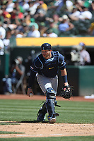 OAKLAND, CA - JUNE 22:  Mike Zunino #10 of the Tampa Bay Rays works behind the plate against the Oakland Athletics during the game at the Oakland Coliseum on Saturday, June 22, 2019 in Oakland, California. (Photo by Brad Mangin)