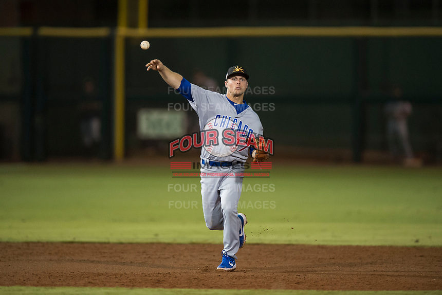 Mesa Solar Sox shortstop Nico Hoerner (17), of the Chicago Cubs organization, throws to first base during an Arizona Fall League game against the Scottsdale Scorpions on October 9, 2018 at Scottsdale Stadium in Scottsdale, Arizona. The Solar Sox defeated the Scorpions 4-3. (Zachary Lucy/Four Seam Images)