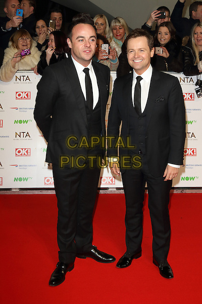 LONDON, ENGLAND - Ant and Dec at the National Television Awards 2016 Red Carpet arrivals at the O2 Arena on January 20th 2016 in London, England<br /> CAP/ROS<br /> &copy;ROS/Capital Pictures