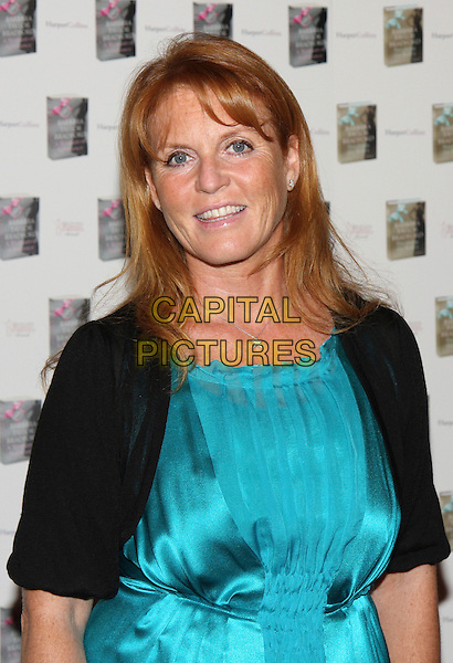 SARAH FERGUSON, DUCHESS OF YORK .At the Woman of Substance Awards, The Dorchester Hotel, London, England, UK, September 10th 2009..half length turquoise blue silk satin black shrug Fergie royal star necklace .CAP/MAR.©Martin Harris/Capital Pictures