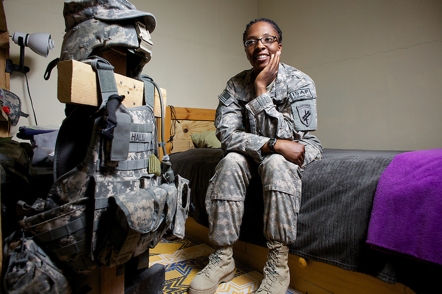 US ARMY Sergeant Sherrita Hall poses fro a portrait in her quarters on Tuesday May 4 2010 at FOB Mether Lam, Afghanistan...Sgt Hall is an Army reservist serving in Afghanistan as part of a Civil Affairs team attached to the region's Provincial Reconstruction Team.