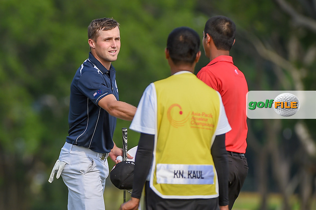 Luke BROWN (NZL) shakes hands following Rd 1 of the Asia-Pacific Amateur Championship, Sentosa Golf Club, Singapore. 10/4/2018.<br /> Picture: Golffile | Ken Murray<br /> <br /> <br /> All photo usage must carry mandatory copyright credit (© Golffile | Ken Murray)