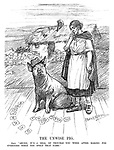 "The Unwise Pig. Erin. ""Shure, it's a deal of trouble you were after making for everyone when you spelt that name."" (an InterWar cartoon shows Ireland speaking to the Free State Electorate pig who has spelt the names De Valera and Cosgrave as they stand infront of a poor farmhouse)"