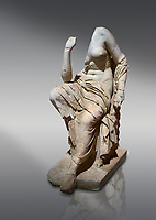 Roman statue of a seated woman . Marble. Perge. 2nd century AD. Inv no 17.7. . Antalya Archaeology Museum; Turkey.