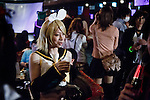 Tokyo, April 27 2013 - Propaganda party in Tokyo. Once a month, around 300 people gather to celebrate men dressed as girls. Josou (???can be married men who wish to have a new experience by dressing as women.