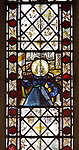 Medieval stained glass window, Holy Trinity church, Long Melford, Suffolk, England -fragments possibly Jesus Christ