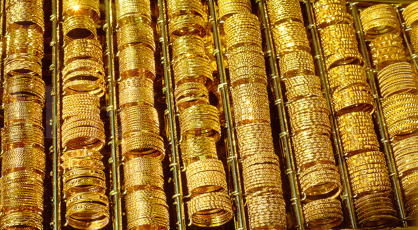Gold bracelets in the souk market in Dubai