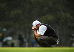 AUGUSTA, GA -  APRIL 14:  Angel Cabrera of Argentina reacts to a missed birdie putt on the 17th green during the fourth round of the 2013 Masters Tournament  held in Augusta, GA at Augusta National Golf Club on Sunday, April 14, 2013. Cabrera was leading going into the final hole, where Adam Scott of Australia forced a playoff, which he eventually won. Adam Scott became the first Australian ever to win the famed Masters Golf Tournament , one of the four major championships, in it's 79 year history.
