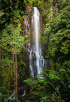 Beautiful Wailua Falls surrounded by lush greenery in Hana, Maui.