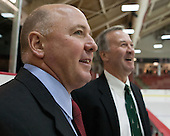 Ted Donato (Harvard - Head Coach) chatted with Gaudet before the game. - The Harvard University Crimson tied the visiting Dartmouth College Big Green 3-3 in both team's first game of the season on Saturday, November 1, 2014, at Bright-Landry Hockey Center in Cambridge, Massachusets.